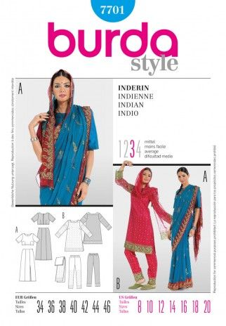 Burda Ladies Sewing Pattern 7701 Indian Style Sari Outfit | Sewing | Patterns | Minerva Crafts