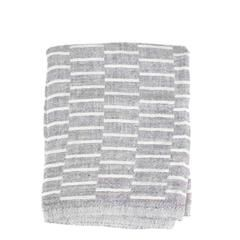 """A beautiful big and thick linen dish towel. Very soft, heavy, pre-washed linen woven in a classic grey and white staggered lines pattern. With the reverse design on the back, and with selveged edges. Ultra absorbent, these towels become even softer and better the more you use them. They also work beautifully as napkins.  Mix and match with our faded blue and indigo dishtowels as well.  48 x 70 cm or approximately 27.5"""" x 19""""  100% linen.  Made in Finland."""
