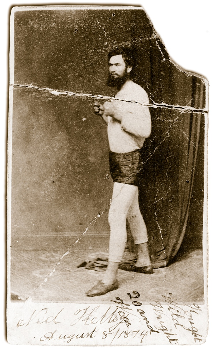 Ned at 19, a study by Melbourne photographer Chidley. It celebrates Ned's victory over 'Wild' Wright in a 20-round bare-knuckle match at Beechworth on August 8, 1874.
