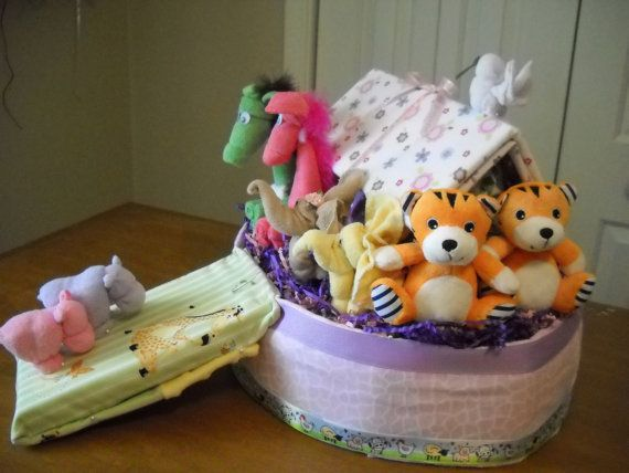 Noah's Ark Diaper Cake by ShelvasDiaperCakes on Etsy