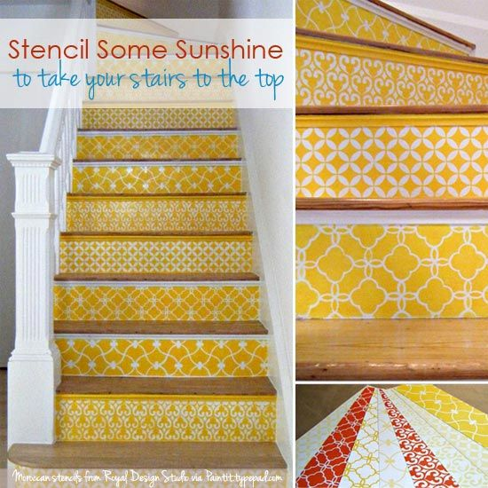 58 Cool Ideas For Decorating Stair Risers: 17 Best Ideas About Stenciled Stairs On Pinterest