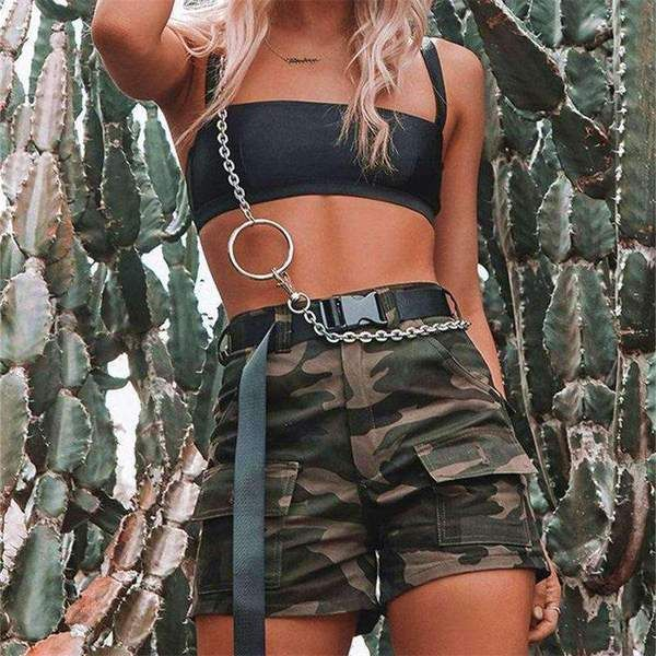 Cool Camouflage Print High Waist Casual Shorts