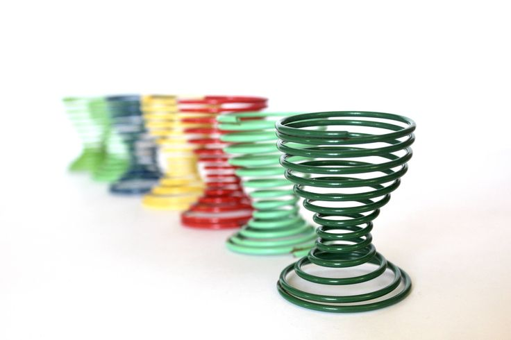 Vintage metal Modern Wire Spiral Egg Cups  set of Seven / Mid Century Modern Egg Cups / Colorful Egg Cups / Spiral Egg cups/ Vintage Egg cup by VelvetPoppyVintage on Etsy