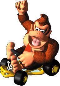 Donkey Kong in his kart from the official artwork set for #MarioKart64 on the #N64. #MarioKart #Mario #Nintendo64. Visit for more info http://www.superluigibros.com/mario-kart-64