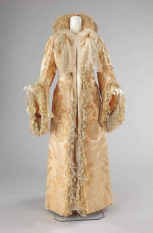 Evening coat  House of Worth  (French, 1858–1956)    Designer:      Jean-Philippe Worth (French, 1856–1926)  Date:      ca. 1902  Culture:      French  Medium:      silk  Dimensions:      Length at CB: 63 in. (160 cm)  Credit Line:      Brooklyn Museum Costume Collection at The Metropolitan Museum of Art, Gift of the Brooklyn Museum, 2009; Gift of Mrs. C. Oliver Iselin, 1961