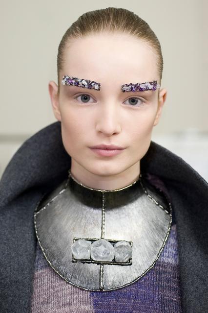 Jewel encrusted eyebrows. CHANEL