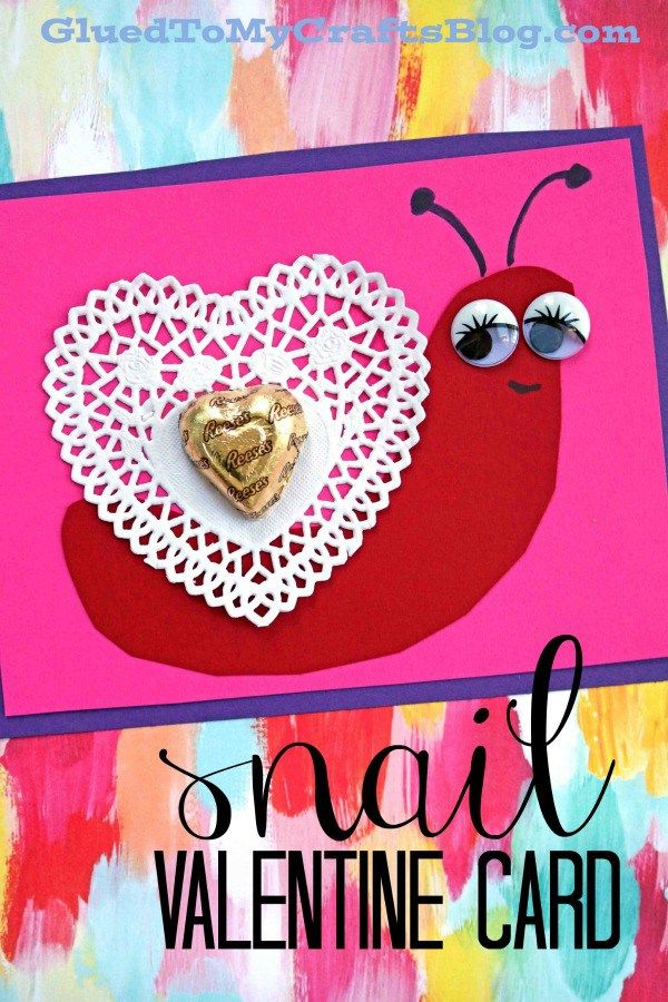 Extra adorable Paper Heart Doily Snail Valentine Card - Kid Craft #gluedtomycrafts
