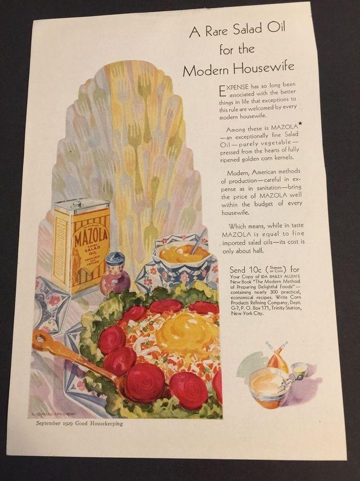 Vintage Good Housekeeping Magazine Ad 1929  Bathroom Kitchen Mazola Oil Radiator #MazolaOil