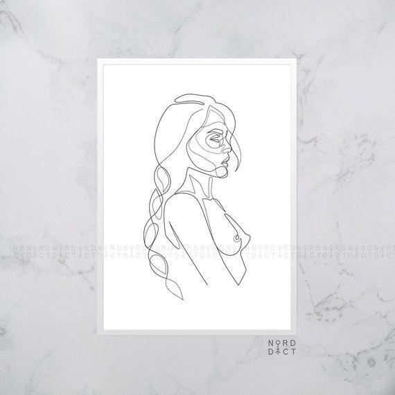 One Line Nude Woman With Braid Printable, Female With Plait Nudity Poster, Simple Erotic Line Art, Minimal Girl Illustration, Original Art – Natalia Schneidmiller