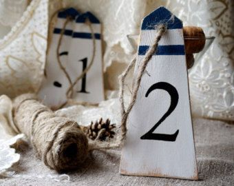 Wood Buoy Table Numbers Nautical Table Decor Numbers For
