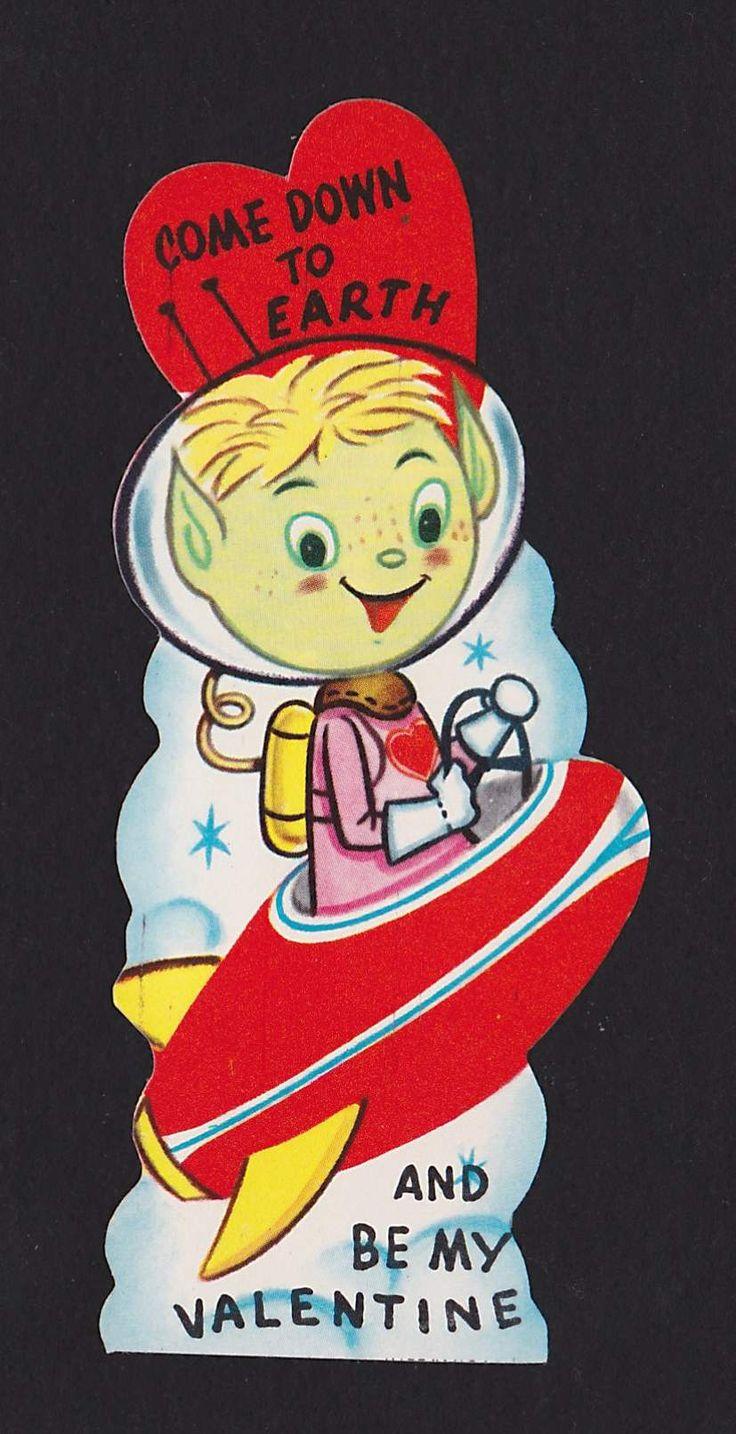 Alien UFO Spaceship Be My Valentine Vintage Valentine's Day Greeting Card