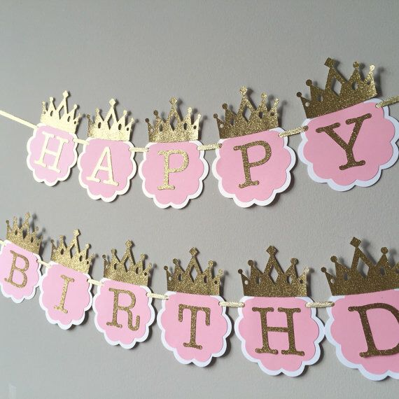 Pink and Gold Happy Birthday Banner                                                                                                                                                                                 More