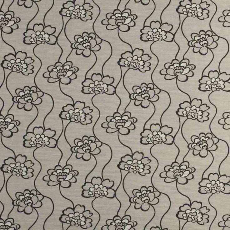 Warwick Fabrics : DAHLIA, Colour BLACK