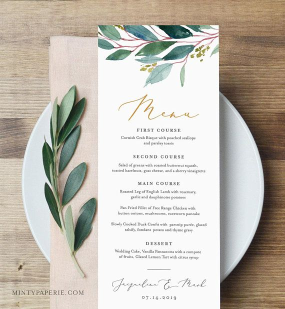 Wedding Greenery Monogram Templett Wedding Menu Template INSTANT DOWNLOAD Printable Dinner Menu Card 100/% Editable Text DIY #056-127WM