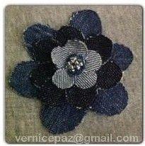 Floral Denim Piece. Handmade by Vernice Favis-Paz (vernicepaz@gmail.com).  #brooch #beads #hairclip #bagaccent #headband #creativemom #DIY #recycle #denimjeans #california #usa