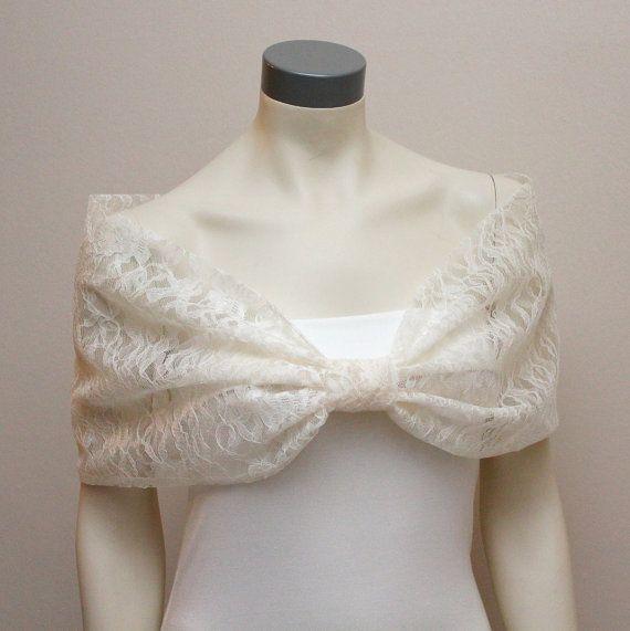 Ivory Lace Bow Shrug Bridal Lace Capelet Bridal Stole by boubo, $53.00