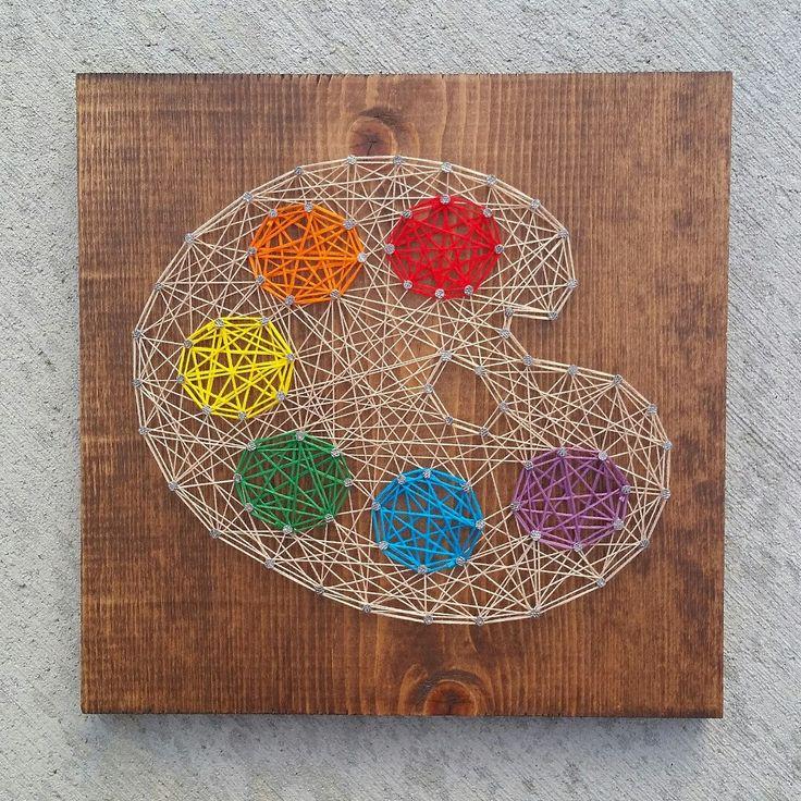 Custom string art paint palette sign by