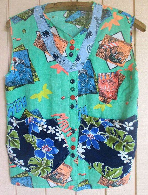 Kauai Maui Oahu Hawaii -- Altered Aloha Vintage HAWAIIAN SHIRT - Luau Beach Dress -Surf Surfer Girl - Fabric Collage Clothing - mybonny