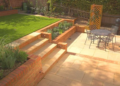 small sloping garden design brick and paving - Garden Design Slope