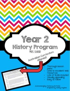 History Program YEAR TWO: Australian Curriculum A 10 week History program for Year Two (2). Links directly to Australian Curriculum and comes with worksheets to use. Easy to follow and use! Visual, attractive PowerPoints and over 10 BLMs to use! Keywords: History, Year 2, year two, grade two, grade 2, Aussie Resources, Aussie, Australian Curriculum, Past and Present, Toys, Now and Then, Australian History, Curriculum materials, Australian, Historical Inquiry, History in Australia, Aussie ...