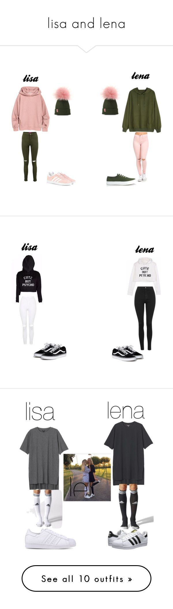 """lisa and lena"" by aestheticislife101 ❤ liked on Polyvore featuring Boohoo, Maison Kitsuné, adidas Originals, Topshop, Monki, adidas, 7 For All Mankind, Vans, Glamorous and Triangl"