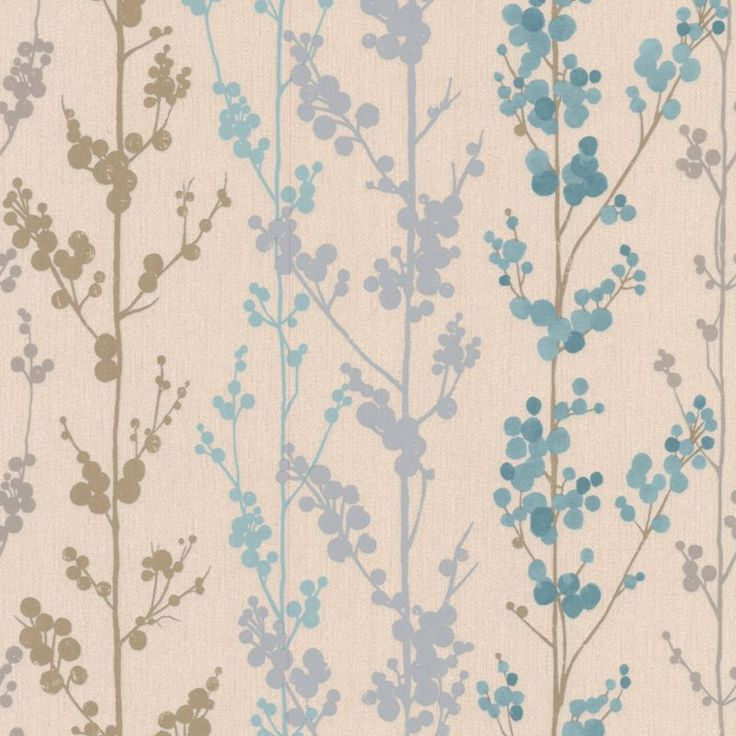 Teal and beige  Berrie  wallpaper   B Q. 1000  images about Papier peint on Pinterest   Brown wallpaper