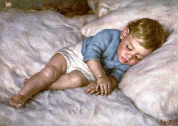 sleeping child Luigi Amato (1898 – 1961, Italian)