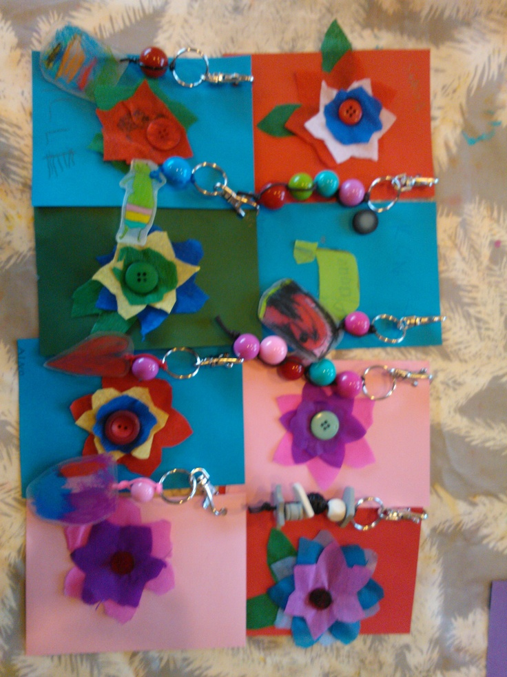Mothers Day cards an keychains made of shrink plastic