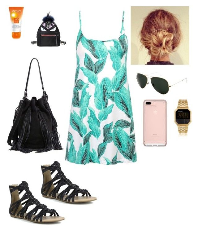 """Monday"" by alegaravito on Polyvore featuring moda, Mark & Maddux, Loeffler Randall, Ray-Ban, Vichy, Nixon y Fendi"