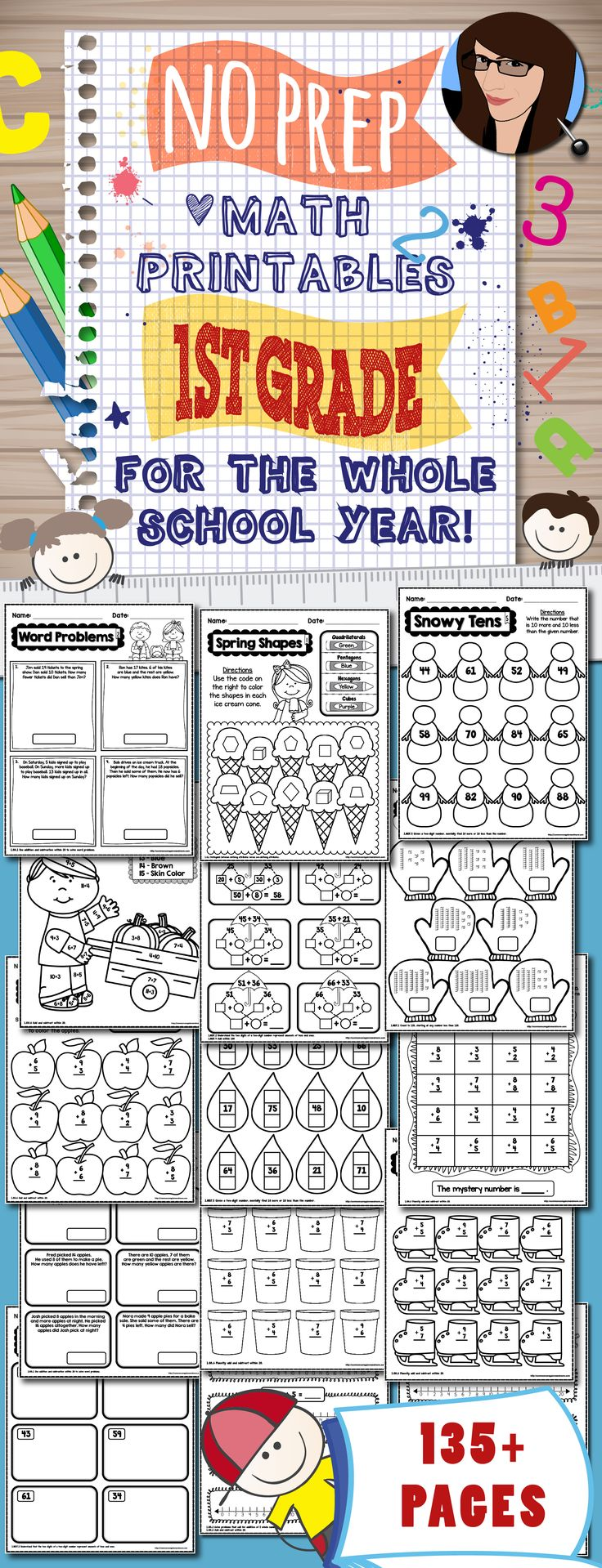 No Prep Math Printables for the Whole School Year - 1st Grade (135+ pages)