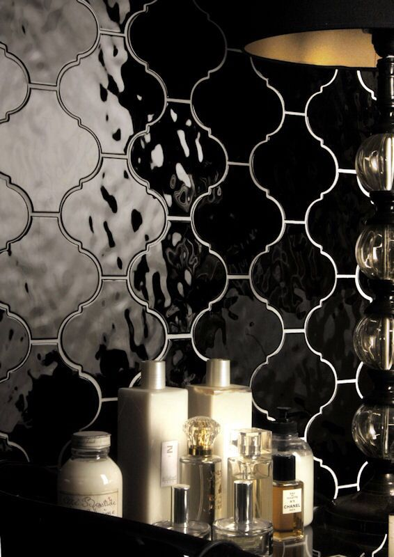 Beautiful undulating gloss tiles - Stunning range of colours from classic white and black to subtle greys and clay like tones. Italian ceramic tiles with a North African influence. Mandarin Stone.  www.mandarinstone.com
