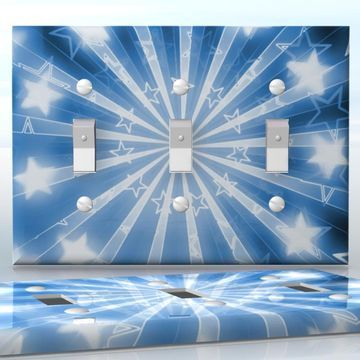 DIY Do It Yourself Home Decor - Easy to apply wall plate wraps   Las Vegas Stars Retro white stars on blue background wallplate skin sticker for 3 Gang Toggle LightSwitch   On SALE now only $5.95