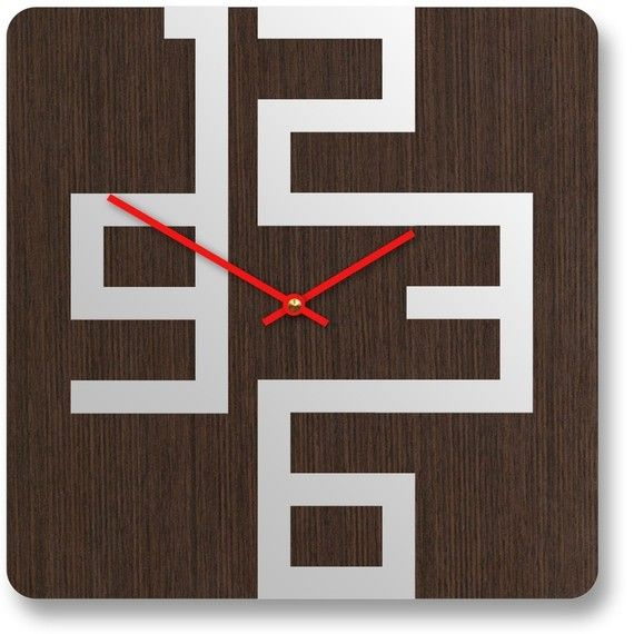 want: Stylish Wooden, Cool Clocks, Clocks Design, Wooden Wall, Wooden Clocks, Wall Clocks, Modern Wall, Products Design, Modern Design
