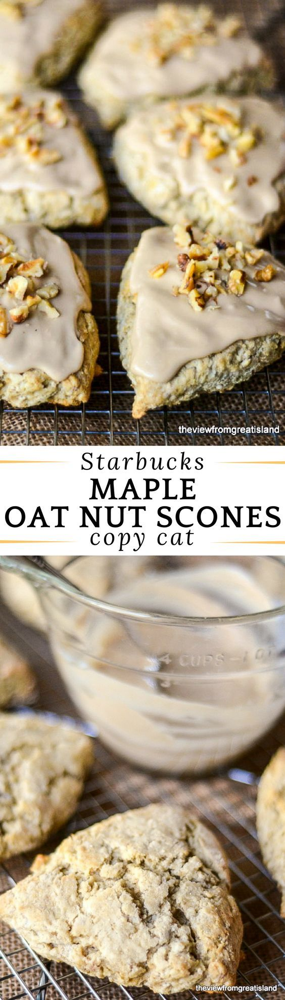 These Starbucks Copy Cat Maple Oat Nut Scones are a personal favorite of mine, they have the perfect moist, flaky texture, and a wonderfully warm, rich maple walnut flavor. #scones #copycatrecipe #starbucks #starbucksrecipe #copycatstarbucks #pastry #breakfast #brunch #fall #maplescones #walnutscones