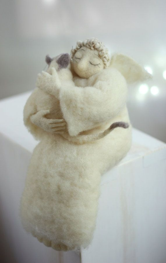 Needle Felt Angel - Christmas Decoration - Dreamy Angel With A White Cat- Needle Felted - Art Doll - Christmas Decoration