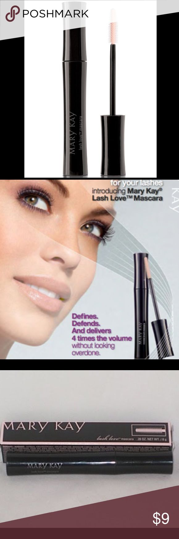 New Mary Kay Lash Love® Lengthening Mascara New in a box Love Lash Mascaras. Love your lashes with the mascara that defines, defends and delivers four times the volume while looking naturally flawless, soft and healthy. The flexible, sculpted brush separates and coats lashes. Flake-, Smudge- and clump-resistant. Mary Kay® Panthenol-Pro Complex™ helps condition lashes and helps defend against breakage. Fragrance-free. Ophthalmologist-tested and suitable for contact lens wearers…