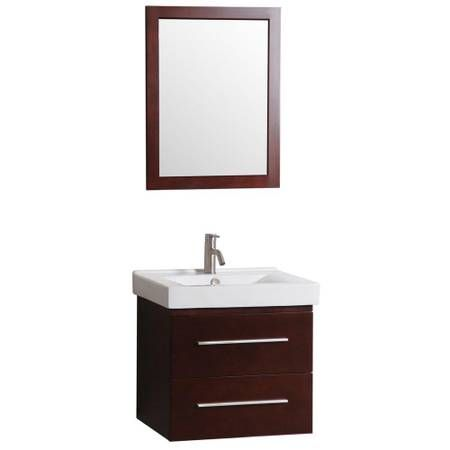 Santorini 24 Inch Vanity In Dark Cherry With Vitreous China Vanity Top In White And Mirror Durable Plywood With