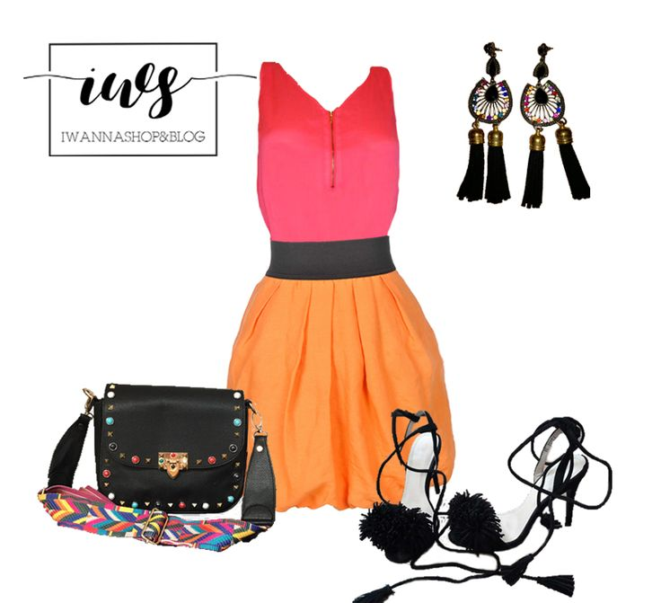 Orange and Pink outfit, Valentino Bag, colorfull outfit, Orange Zara Skirt and Pink Top