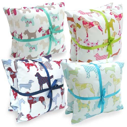 Set Of 2 Dog Themed Scatter Cushions