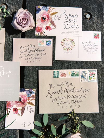 Floral 'Save the Date' and Invitations: http://www.stylemepretty.com/oklahoma-weddings/edmond/2015/06/02/lovely-lavender-wedding-inspiration/ | Photography: Sheradee Hurst - http://www.sheradeehurstphotography.com/