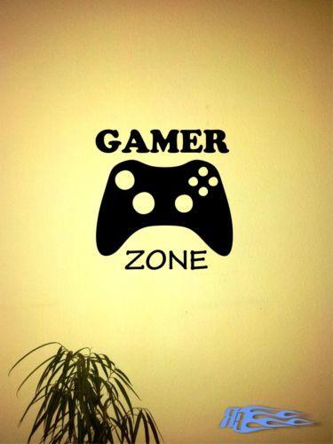 Wandtattoo-GAMER-ZONE-XBOX-kontroller-Wandaufkleber-Spiele