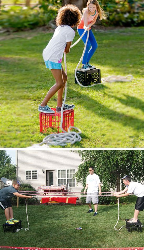 Milk Crate Tug O War | 16 DIY Summer Activities for Kids Outside | Fun Summer Ideas for Kids Outside Games