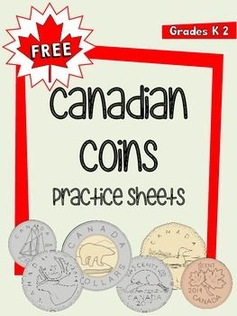 This packet includes 8 pages of Canadian money practice sheets.  It includes: -two charts (one colour, one black and white), showing the six Canadian coins, their names, and their values. -six pages of counting money sheets (one each for penny, nickel, dime, quarter, loonie, and toonie).You may also be interested in:FREE Canadian Flag Clip ArtFREE 8-Page Canadian Symbols Booklet----------------------------------------------------------------------------------------Follow me for…