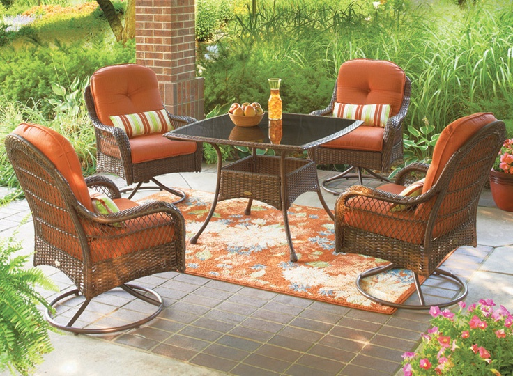 The Azalea Ridge Dining Set is so relaxing with deep cushioned-swivel chairs+ coordinating lumbar pillows