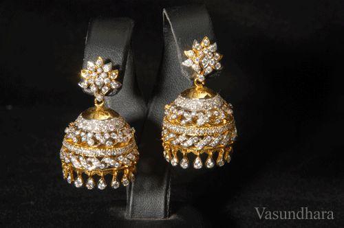 Jewellery Designs: Diamond Jumkas (Earrings) by Vasundhara Jewellers