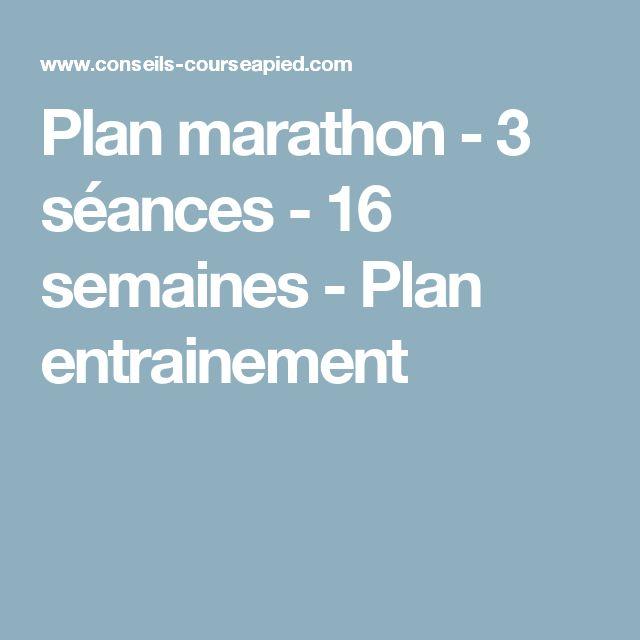 Plan marathon - 3 séances - 16 semaines - Plan entrainement