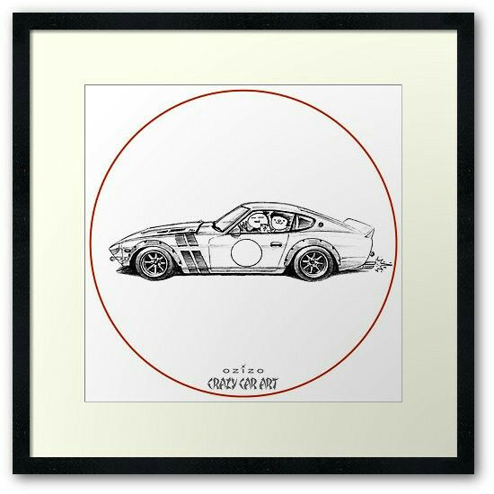 Crazy Car Art 0001 - framed print