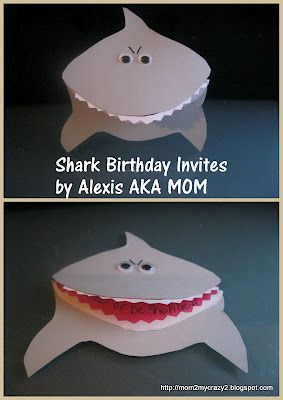 Shark Birthday Invites---@Jan Wilke Moser I can help you make these!