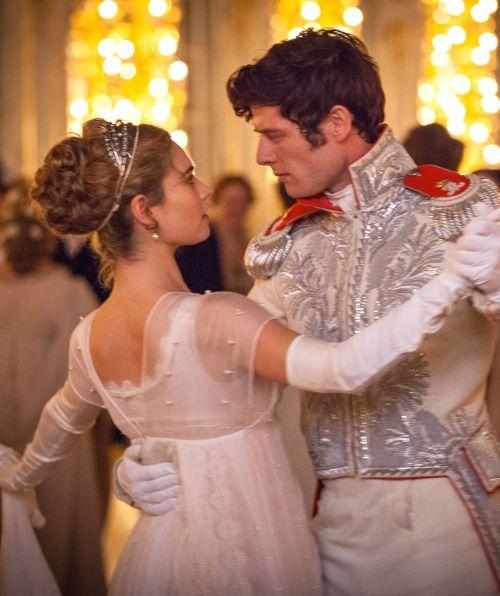 Lily James as Natasha Rostova and James Norton as Prince Andrei Bolkonsky in War and Peace (TV Mini-Series, 2016). [x]