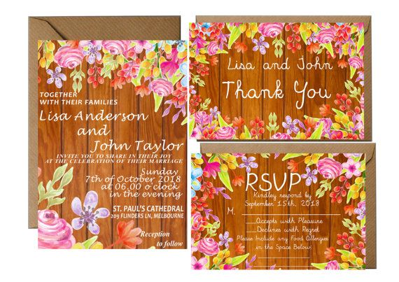 FLORAL BOHEMIAN WEDDING Invitation With Rsvp by LoveArtsStationery